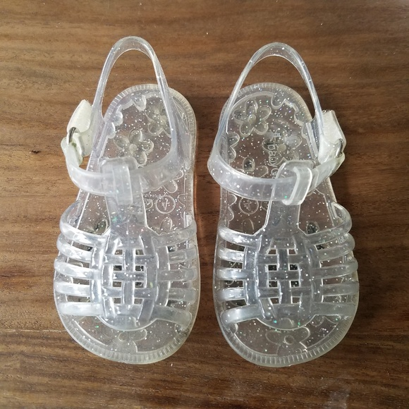 NWT Baby Gap Girls Size 7 or 8 Pink Basket Weave Jelly Jellies Sandals Shoes